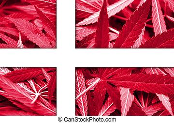 Denmark Flag on cannabis background. Drug policy. ...