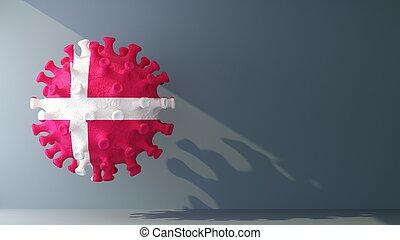 Denmark flag on covid-19 virus with copy space