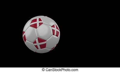 Denmark flag on flying soccer ball on transparent background, alpha channel