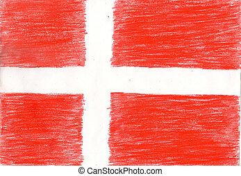 Denmark flag, pencil drawing illustration kid style photo image