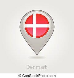 Denmark flag pin map icon, vector illustration