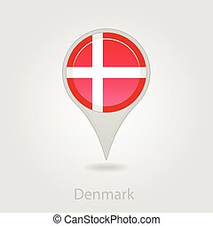 Denmark flag pin map icon, vector illustration