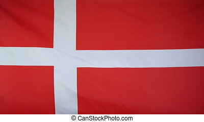 Denmark Flag real fabric close up - Textile flag of Denmark...