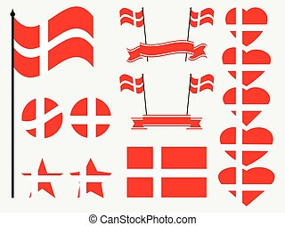 Denmark flag set. Collection of symbols, flag in heart. Vector illustration
