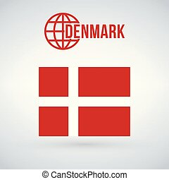 Denmark flag vector illustration isolated on modern background with shadow.