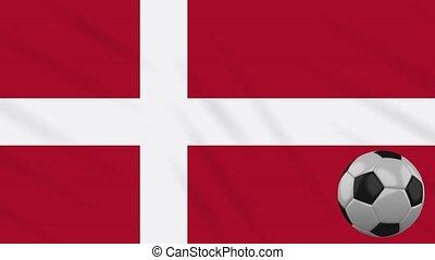 Denmark flag waving and football rotates, loop - Denmark...
