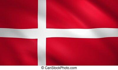 Denmark flag waving in the wind