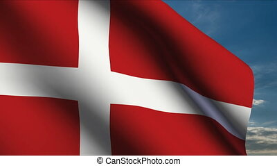 Denmark Flag waving in wind with clouds in background
