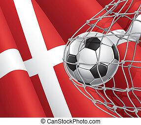 Denmark flag with a soccer ball