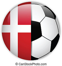 Denmark Flag with Soccer Ball Background