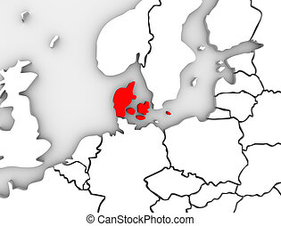 Denmark Illustrated Abstract 3D Map Northern Europe