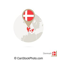 Denmark map and flag in circle. Map of Denmark, Denmark flag...