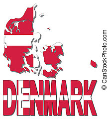 Denmark map flag and text