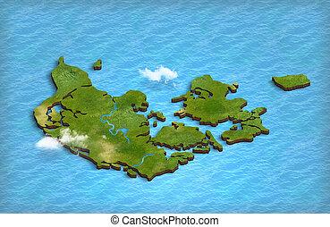 Denmark map in 3d in the ocean - Denmark map in 3d in the...