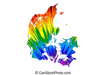 Denmark - map is designed rainbow abstract colorful pattern