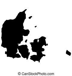 Denmark map silhouette black Vector illustration. EPS10