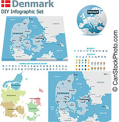 Denmark maps with markers - Set of the political Denmark ...