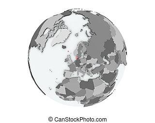 Denmark on globe isolated