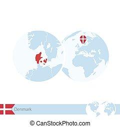 Denmark on world globe with flag and regional map of Denmark.