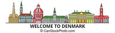 Denmark outline skyline, danish flat thin line icons, landmarks, illustrations. Denmark cityscape, danish travel city vector banner. Urban silhouette