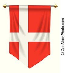 Denmark Pennant - Denmark flag or pennant isolated on white