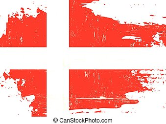 Denmark scratched Flag - A danish flag with a grunge texture