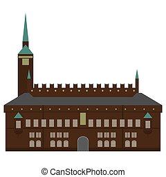 Denmark set of landmark icons in flat style. Copenhagen City sights. Danish architecture design elements. Town hall