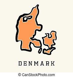 Denmark simplified map - Denmark simple map outline - ...