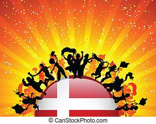 Denmark Sport Fan Crowd with Flag