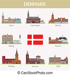 Denmark. Symbols of cities