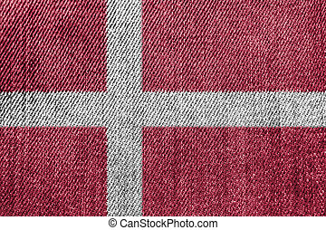 Denmark Textile Industry Or Politics Concept: Danish Flag Denim Jeans