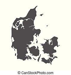 Denmark vector map. Black icon on white background.