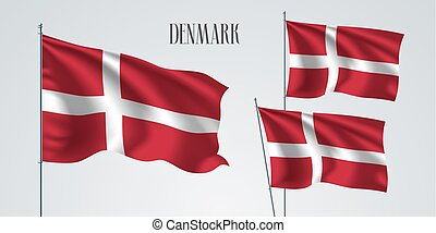 Denmark waving flag set of vector illustration