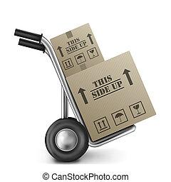 denne, æske, karton, side, oppe