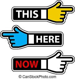 denne, etiketter, her, hånd, vektor, nu, pegepind
