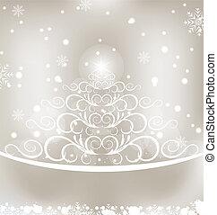 dennenboom, gloeiend, floral, kerstmis kaart, viering