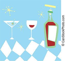 denominado, retro, bebidas