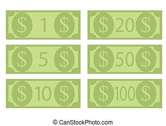 Denomination of dollar bills, hundred