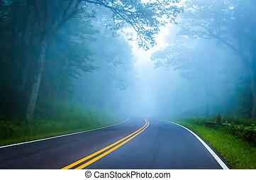 Dense fog on Skyline Drive in Shenandoah National Park,...
