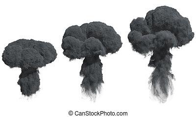 dense, fumée, noir