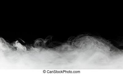 dense, fumée, toile de fond, isolé, sur, noir