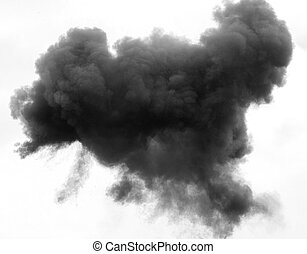 dense grey and black cloud with a thick blanket of smoke high in the white sky