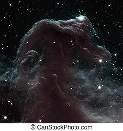 dense, horsehead nebula, essence, poussière, nuage