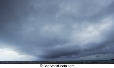 Dense Layer of Heavy, Gray Clouds Drifting Over. 4k footage ...