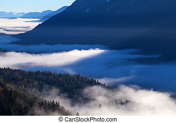dense morning fog in Alps