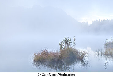 dense morning fog on alpine lake Barmsee
