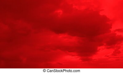 Low altitude, density clouds on red sky time-lapse