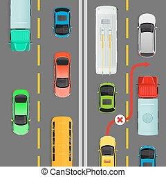 denso, diagrama de flujo, vector, tráfico, adelantamiento