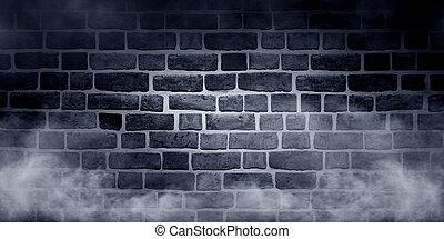 denso, nebbia, su, muro di mattoni