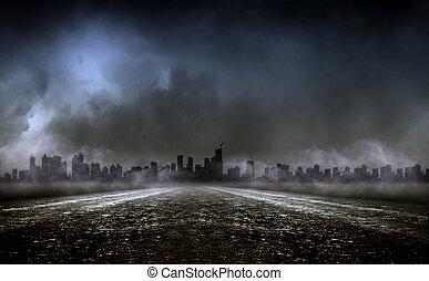 denso, nevoeiro, ligado, reino